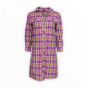 Theory Buttons Down 3/4 Sleeve Plaid Shirt Dress